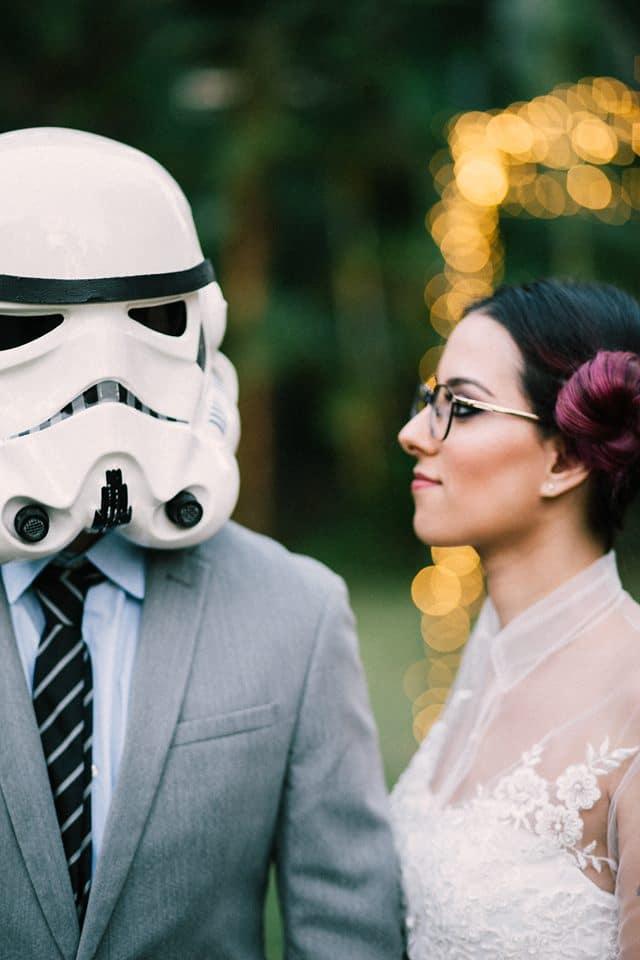 noivos em casamento nerd star wars